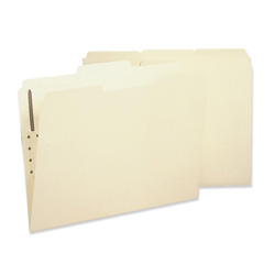 Sparco Fastener Folder with 2-Ply Tab, 1 Fastener, 1/3 Tab, Letter, 50/Box, MA