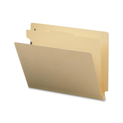 Sparco Classification Folder with Fasteners, 1 Divider, Letter size, 10/Box, Manila