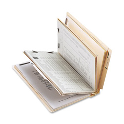 Sparco Classification Folder with Fasteners, 2 Divider, Letter size, 10/Box, Manila