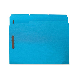 Sparco Fastener Folders with2-Ply Tab, 1/3 Assorted Tab, 50/Box, Letter size, Blue