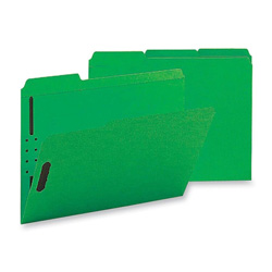 Sparco Fastener Folders with 2-Ply Tab, 1/3 Assorted Tab, 50/Box, Letter size, Green