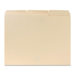 Sparco File Folder, 1/3 Cut Assorted Tab, 2 Ply, Letter, Manila
