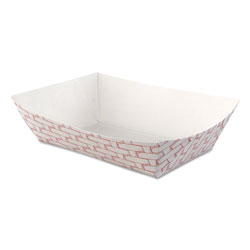 Boardwalk Paper Food Baskets, 2.5lb Capacity, Red/White, 500/Carton