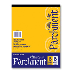 Staedtler White Letter Sized Calligraphy Parchment Paper, 60 lb, 15 Gold/15 White