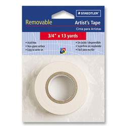 "Staedtler White Nonglare Removable Artist''s Tape, 3/4"" x 13 yards"