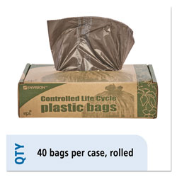 "Stout Brown Trash Bags, 39 Gallon, 1.1 Mil, 33"" X 44"", Box of 40"