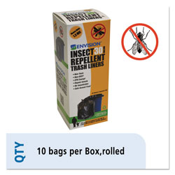 Stout Trash Can Liner, w/ Insect Repellent, 30Gal Capacity 10BG/BX, BK