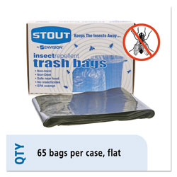 "Stout Insect Repellent Black Trash Bags, 45 Gallon, 2 Mil, 33"" X 45"", Box of 65"