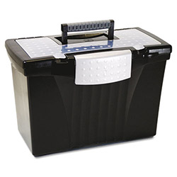 Storex Portable File Box w/ Organizer Lid, Letter/Legal, 14-1/2w x 10-1/2d x 12h, Black