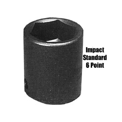 "Sunex 1/2"" Drive Standard 6 Point Impact Socket 1"""