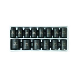 "Sunex 14 Piece 1/2"" Drive Standard Metric 6 Point Impact Socket Set"