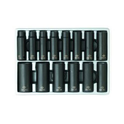 "Sunex 14 Piece 1/2"" Drive Deep Metric 6 Point Impact Socket Set"