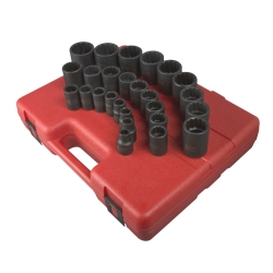 "Sunex 26 PIece 1/2"" Drive 12 Point Metric Impact Socket Set"