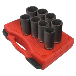"Sunex 1/2"" Drive Deep 12 Point Spindle Nut Impact Socket Set"