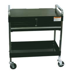 Sunex Service Cart With Locking Top and Drawer - Black