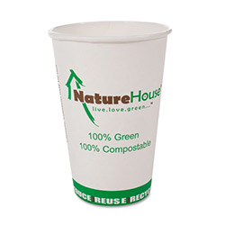 Savannah Supplies 16 Oz Hot Paper Cups, White, Pack of 50