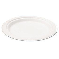 "Savannah Supplies Bagasse 7"" Plate, Round, White, 125/Pack"