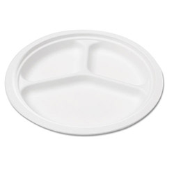 "Savannah Supplies Bagasse 10"" Three-Compartment Plate, Round, White, 50/Pack"