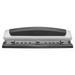 "Swingline 10 Sheet Adjustable 2 3 Hole Punch, 9/32"" Dia., Black/Silver"