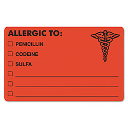 "Tabbies Medical Labels, Allergic To: Penc, 4"" x 2 1/2"", Flourescent Red"