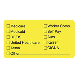 "Tabbies Insurance Labels for Medical Office, 3 1/4""x1 3/4"", Yellow"