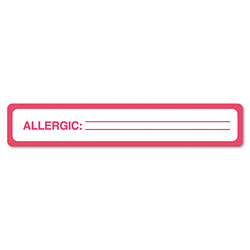 "Tabbies Allergy Label, 5 1/2""x1"", 175/Roll, Red"