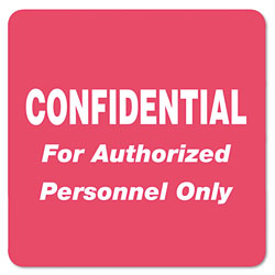 "Tabbies Confidential For Authorized Personnel Only"" label, 2"" x 2"" Red"