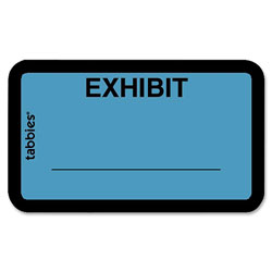 "Tabbies Legal Exhibit Labels, ""Exhibit"", 1 5/8""x1"", Blue"