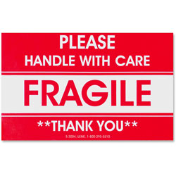 Tatco Shipping Label, Fragile/Handle W Care, 500/RL, Red