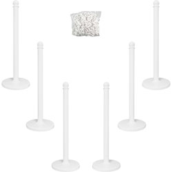 "Tatco Plastic Stanchions for Crowd Control, Indoor/Outdoor, 39"" High, White, 6 Per Box"