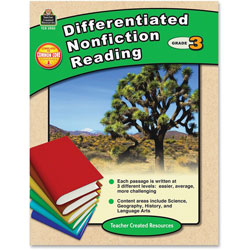 Teacher Created Resources Differentiated Nonfiction Reading, Grade 3, 96 Pages