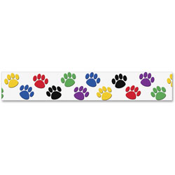 "Teacher Created Resources Paw Prints Border Trim, 3"""" x 35"""" Panels, Paw Prints, 12/Pack"
