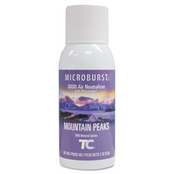 Rubbermaid Aerosol Microburst 3000 Air Freshener Refill, Mountain Peaks, Case of 12