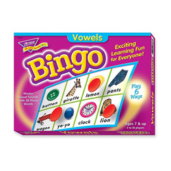 Trend Enterprises Vowels Bingo Game, 3-36 Players, 36 Playing Cards/Mats