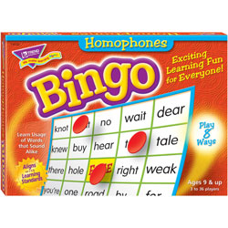 Trend Enterprises Homonyms Bingo Game, 3-36 Players, 36 Cards/Mats