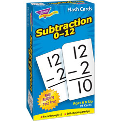 "Trend Enterprises Math Flash Cards, Subtraction, 0 To 12, 3""x5-7/8"""