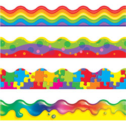 "Trend Enterprises Terrific Trimmers Border, 2 1/4"" x 39"" Panels, Color Blast Designs"