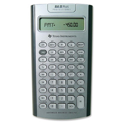 Texas Instruments BAIIPLUSPRO Financial Calculator, Alphanumeric, AOS, 10 Character, Pouch