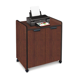 Creative Office Seating Mobile Utility Cabinet with Double Doors, 27w x 20d x 31h, Mahogany