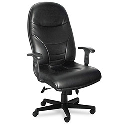 Mayline Comfort Series Executive High-Back Swivel/Tilt Chair, Black Leather