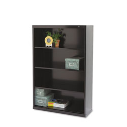 "Tennsco Black Metal Bookcase, 52 1/2"" High, Three Adjustable Shelves"