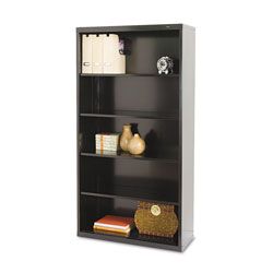 "Tennsco Black Metal Bookcase, 66"" High, Four Adjustable Shelves"