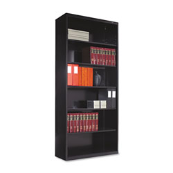 "Tennsco Black Metal Bookcase, 78"" High, Five Adjustable Shelves"