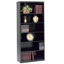 "Tennsco Welded Bookcases, 5 Shelves, 34 1/2""x13 1/2""78"", Black"