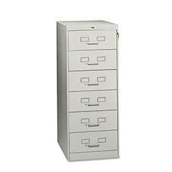 "Tennsco 6-Drawer Multimedia Cabinet For 6 x 9 Cards, 21 1/4""w x 52""h, Light Gray"