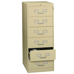 Tennsco File Cabinet for 6 x 9 Cards, 6 Drawer, 21 1/4w x 28 1/2d x 52h, Sand