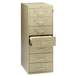 Tennsco File Cabinet for 5 x 8 Cards, 7 Drawer, 19 1/8w x 28 1/2d x 52h, Sand