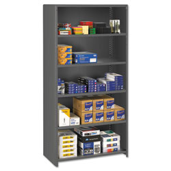 Tennsco Closed Commercial Steel Shelving, 6 Shelves, 36w x 24d x 75h, Medium Gray