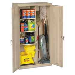 Tennsco Janitorial Cabinet, 36w x 18d x 64h, Putty