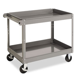 "Tennsco Metal Two Shelf Cart, 24w x 36d x 32h, 5"" Casters, Gray"
